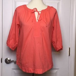 Loft Coral Boho Relaxed Fit Top Blouse